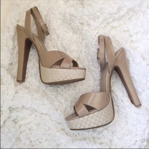 Chinese Laundry Shoes - NEVER WORN! nude cream ankle strap platform heels
